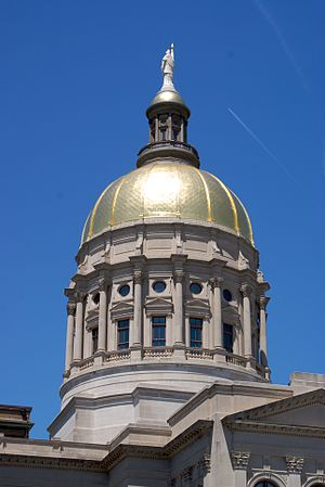 English: Close-up of the gold dome atop the Ge...