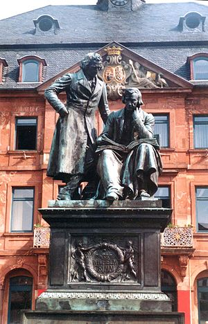 Monument to brothers Grimm on the market place...