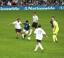 Maradona en el Soccer Aid realizado en Inglaterra en mayo de 2006.