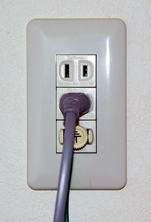 Japanese outlet with ground post, for a washin...
