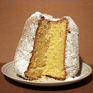 An italien Pandoro cake. Side view with cut