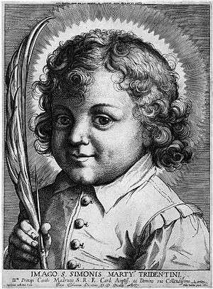 Portrait of St Simon of Trent, 1607, etching,,...