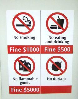 Durian warnings in Singapore's MRT