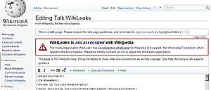 Wikipedia warning about Wikileaks
