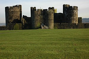English: Caerphilly Castle Caerphilly Castle v...