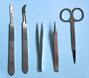 Dissection tools; Scalpel, tongs, scissors. Ma...