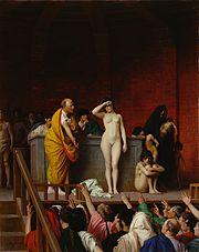 Escrava sendo leiloada na Antigüidade, por Jean-Léon Gérôme
