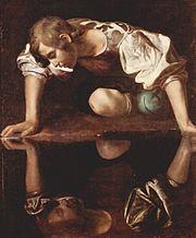 Narcissus atau Narsisus jatuh cinta terhadap dirinya sendiri. Lukisan karya Michelangelo Caravaggio.