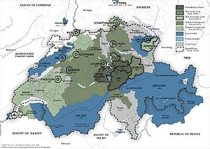 The Old Swiss Confederacy from 1291 (dark grey...