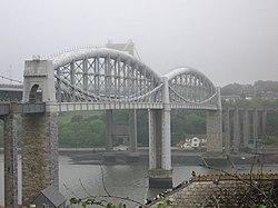 The Royal Albert Bridgethat carries the Cornwall Railway across the River Tamar