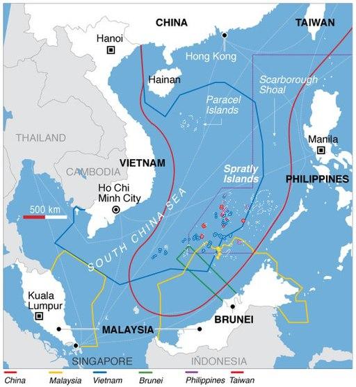 South China Sea claims map