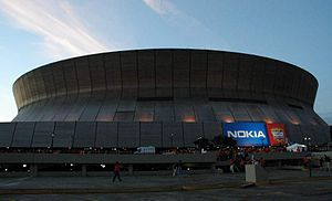 Louisiana Superdome in New Orleans at sunset f...