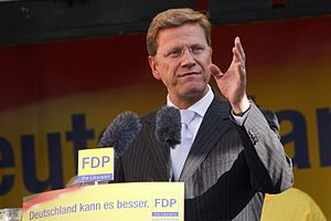 Westerwelle speaking at an election rally in Hamm
