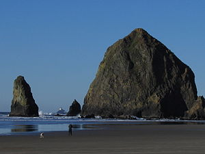 Haystack Rock seen from Cannon Beach