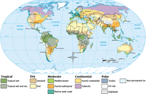 English: Climate zones of the world
