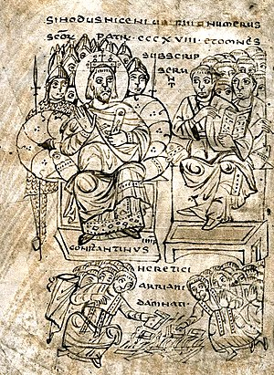 The emperor Constantine and the council of Nic...