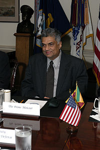 Prime Minister Ranil Wickremesinghe of Sri Lanka meets with Deputy Secretary of Defense Paul Wolfowitz in The Pentagon on 3 November 2003. The leaders are meeting to discuss defense issues of mutual interest.