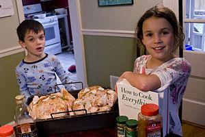 Homeschooled children in the kitchen