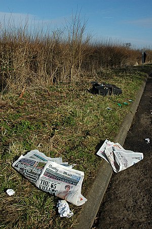 English: Litter beside a layby near Sedgeberro...