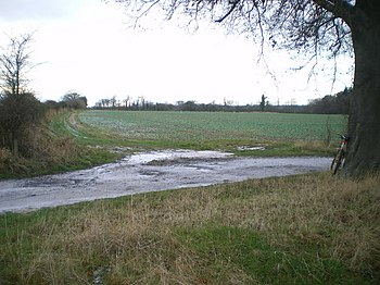 English: The end of the bridleway at Atchley T...