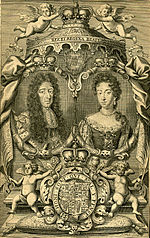 Engraving depicting a king, queen, throne, and arms