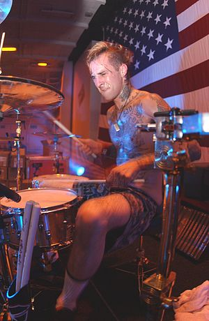 Drummer Travis Barker, of the rock band Blink-...
