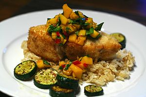 Halibut with mango salsa on coconut brown rice...