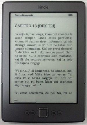 English: Latest Kindle (2011) showing Esperant...