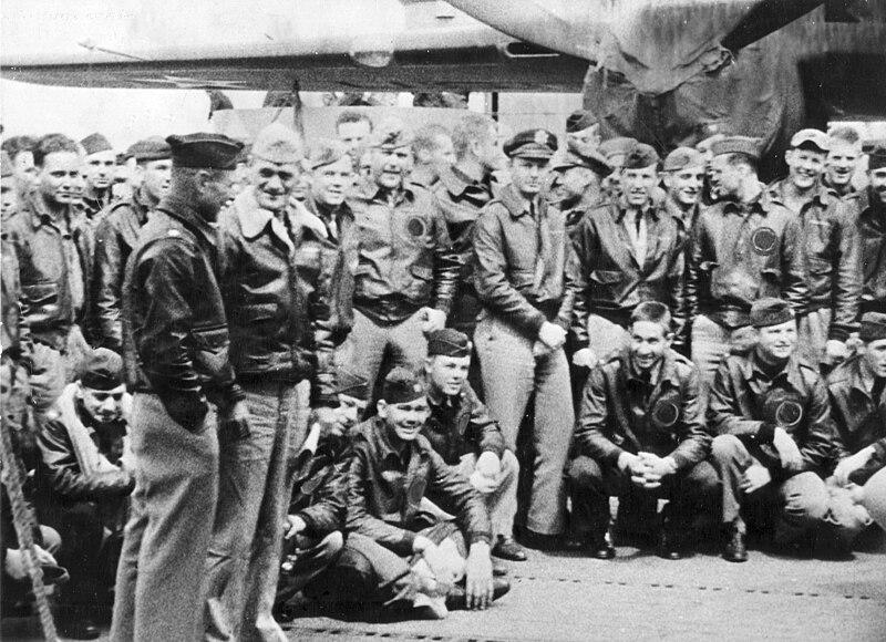 Doolittle Raiders on the Hornet.  U.S. Navy photo via Wikipedia.