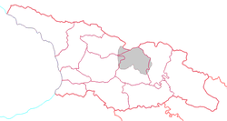 Former South Ossetian Autonomous Oblast is grey. It is officially divided by Georgian authorities between different administrative units.