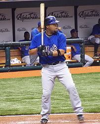 Mets catcher Ramón Castro during a Mets/Devil Rays spring training game at Tropicana Field in St. Petersburg, Florida.