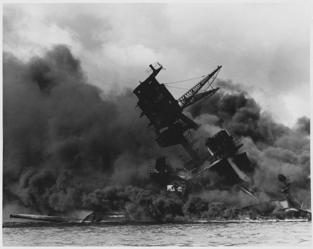 uss arizona burns during pearl harbor attack