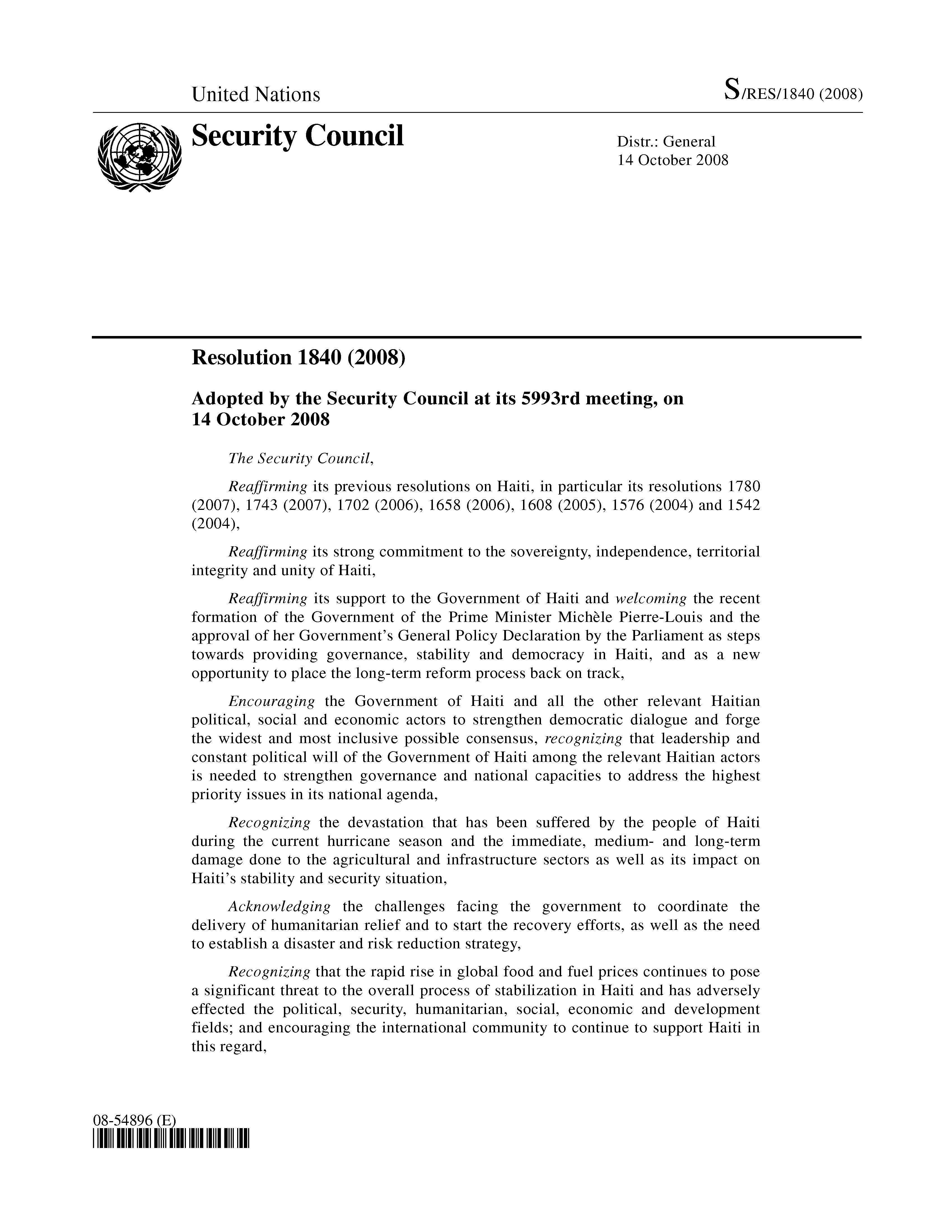 Page Un Security Council Resolution Vu 1