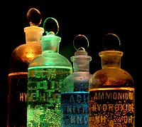Chemicals in flasks (including Ammonium hydrox...
