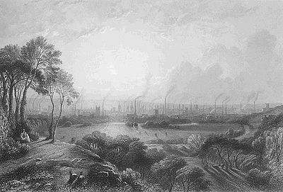 """Manchester, Inglaterra (""""Cottonopolis""""), 1840, mostrando las chimeneas de las fábricas"""