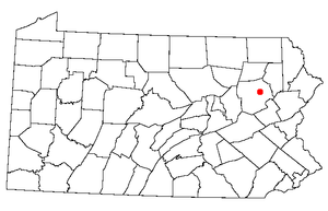 Pennsylvania state map with a dot on Wilkes-Ba...