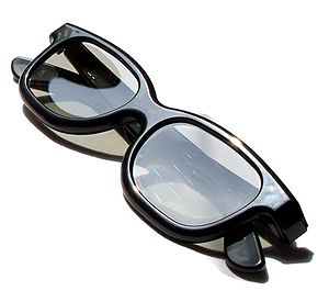 RealD glasses used in 3D movie theaters.