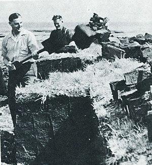Falkland Islanders shoveling peat (ca 1950).