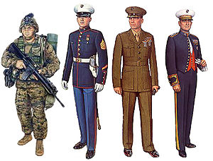 Collage of United States Marine Corps uniforms...