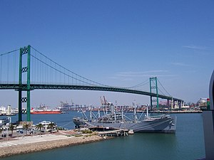English: Vincent Thomas Bridge from San Pedro,...