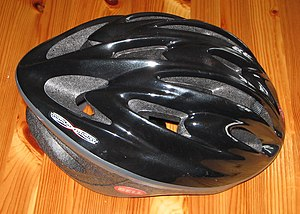 A bicycling helmet.