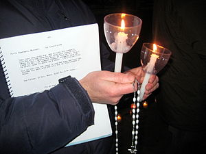 Pro-life candlelight vigil outside a Planned P...