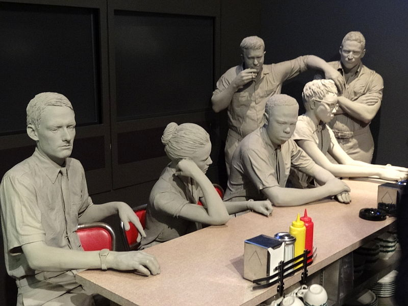 File:Diorama of Lunch Counter Sit-Down Protests - National Civil Rights Museum - Downtown Memphis - Tennessee - USA - 01.jpg