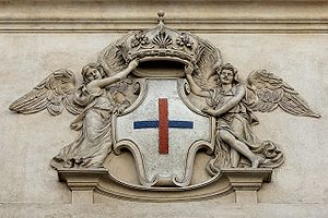 English: Stone emblem of the Trinitarian Order...