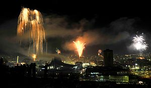 Independence celebration in Pristina, Kosovo, ...