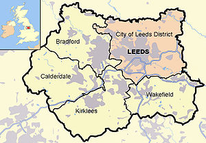 Map of West Yorkshire and surrounding area, hi...