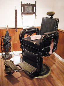 antique wood barber chair dining room table with leather chairs wikipedia