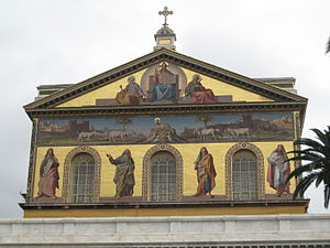 The big mosaic of the facade of Saint Paul out...