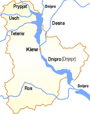 Ukraine Oblast Kiew Flüsse mitName