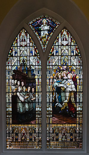 Second north window with stained glass depicti...